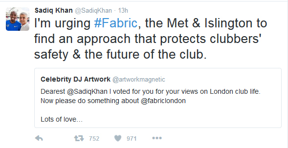 sadiq khan twitter response